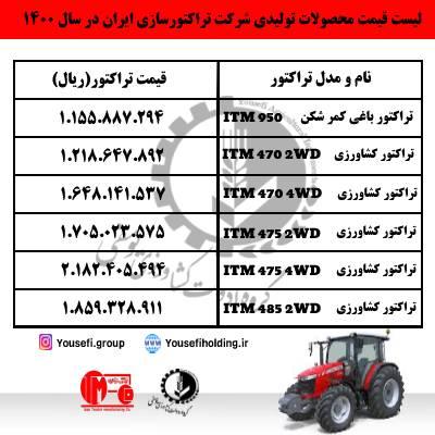 لیست قیمت تراکتور در سال 1400